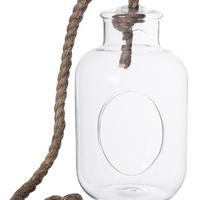 Vase Bouteille En Verre Avec Corde À Suspendre Ref 39015