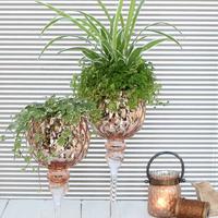 Vase  En Verre Sur Pied Coupé En Cuivre Ref 29324