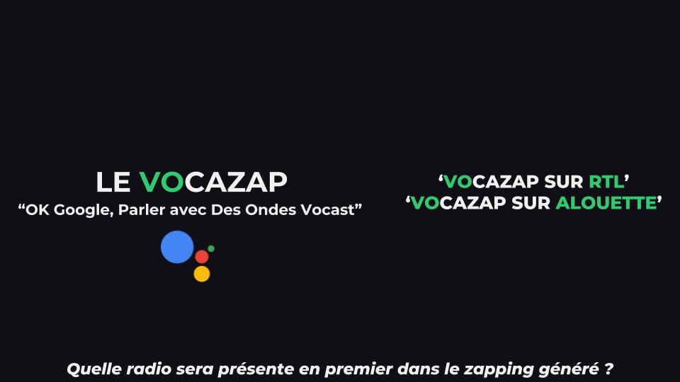 Affiche de promotion du jeu 'Vocazap' sur l'Assistant Google