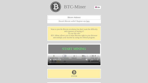 Btc Miner Bitcoin Mining In Your Browser